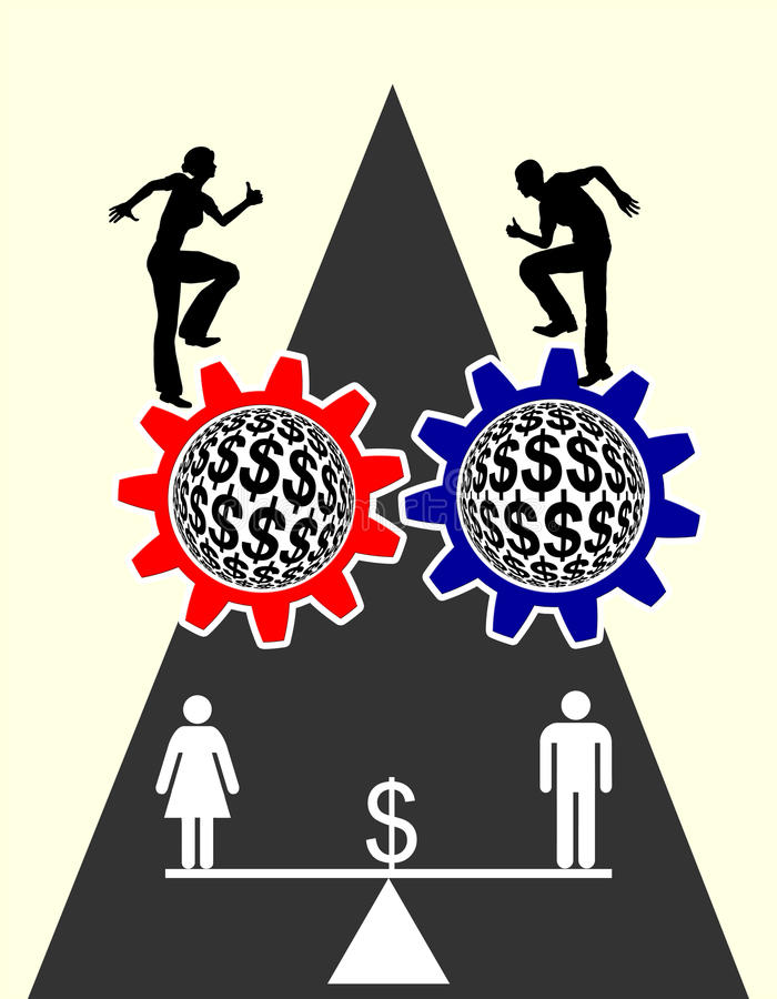 Equal Pay. Concept sign voting for equal payment for men and women vector illustration
