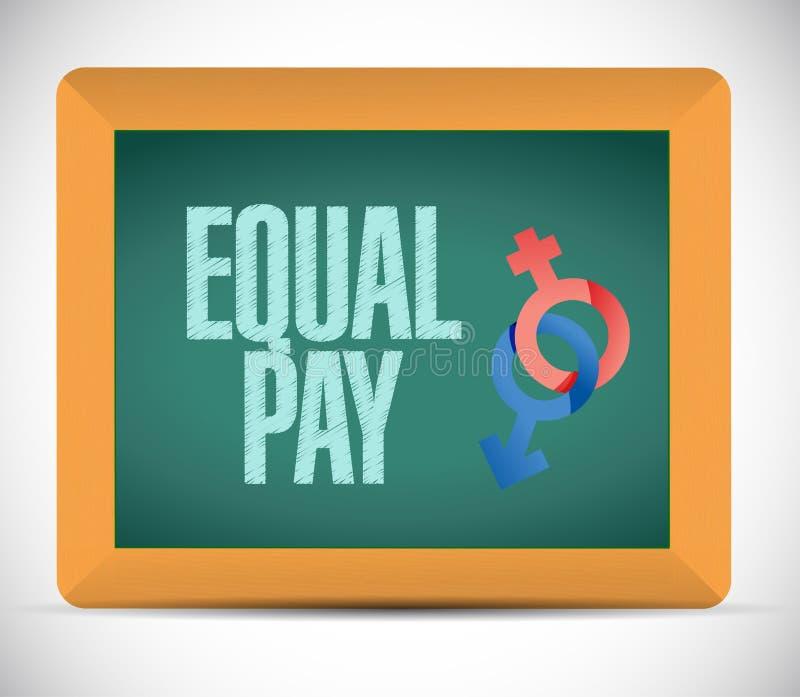 Equal pay message illustration design. Over a white background stock illustration