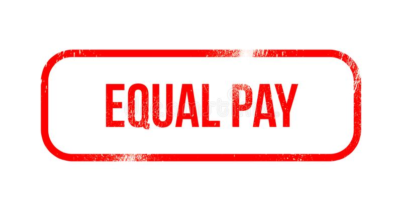 Equal pay - red grunge rubber, stamp.  vector illustration