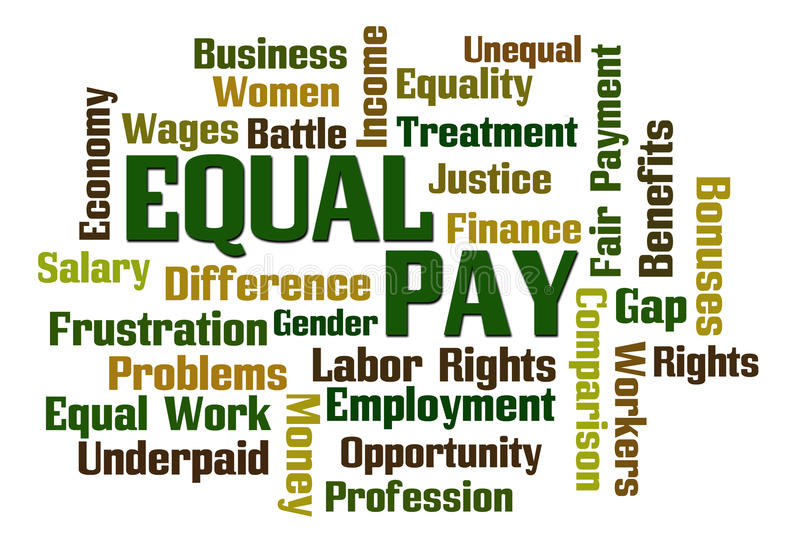 Equal Pay. Word Cloud on White Background royalty free illustration
