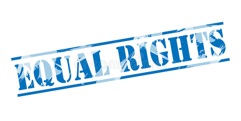 Equal rights blue stamp. Isolated on white background vector illustration