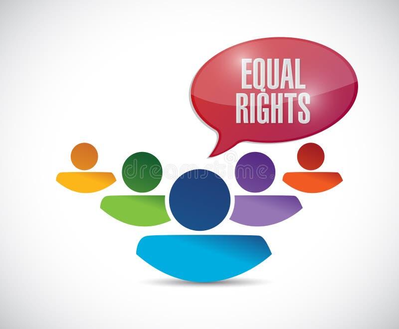 Equal rights diversity people illustration. Design over a white background stock illustration