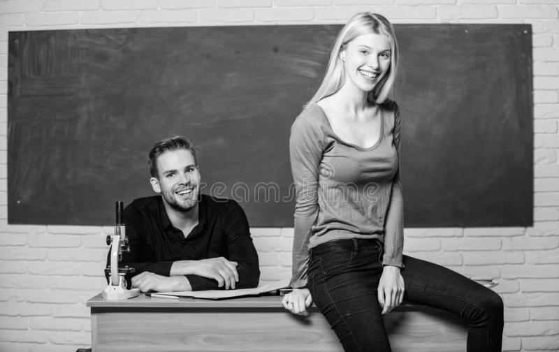 Equal rights and liberties. Man and woman study university. Right education. Mentorship and educational programs royalty free stock images