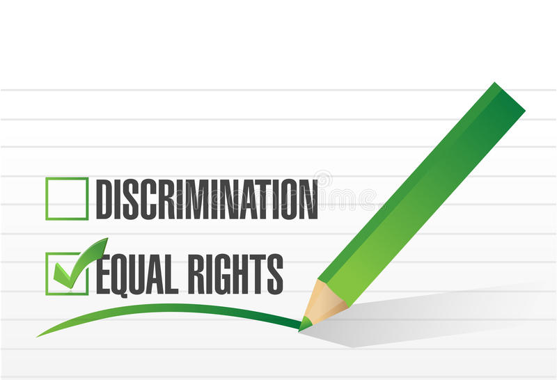 Equal rights selection illustration design. Over a white background stock illustration