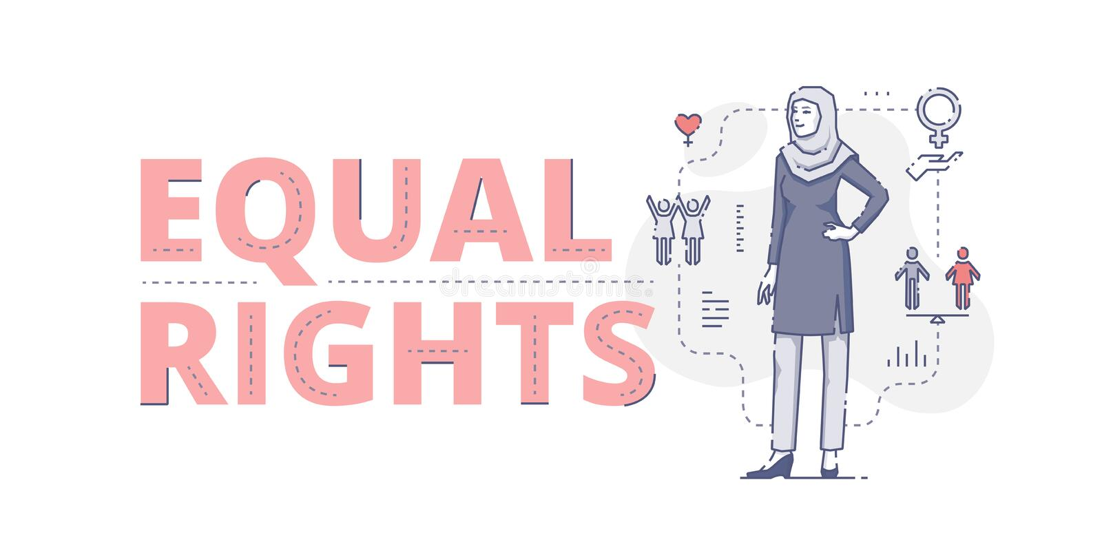 Equal rights web banner. Illustrative typography horizontal banner with words `Equal rights` and Muslim woman standing akimbo. Women`s empowerment related flat stock illustration