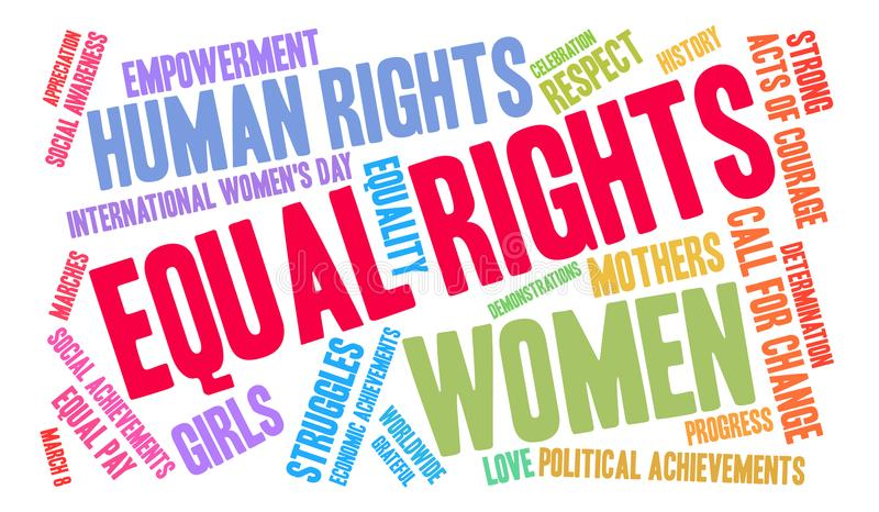 Equal Rights Word Cloud. On a white background stock illustration