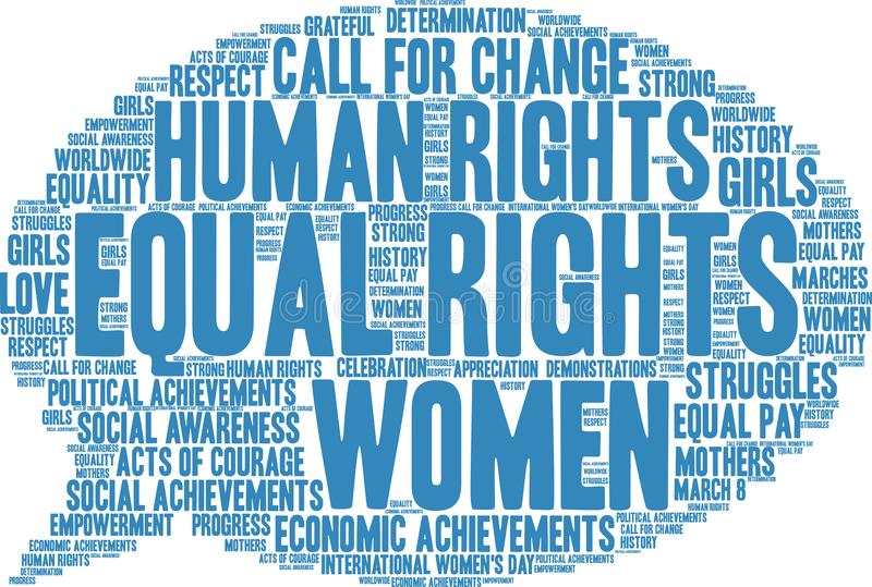 Equal Rights Word Cloud. On a white background royalty free illustration