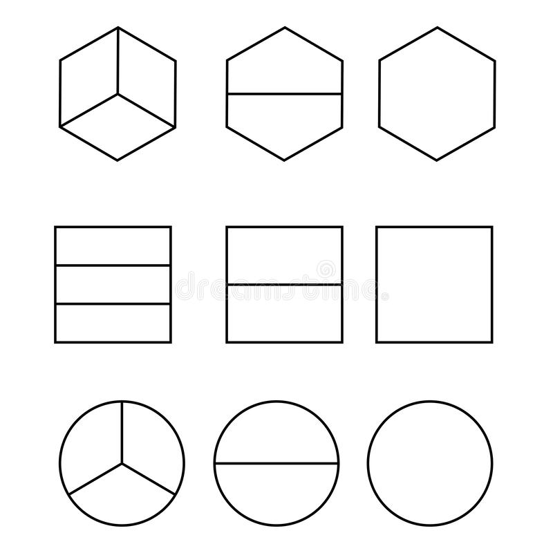 Equal Shares and Halves isolated on white background vector vector illustration