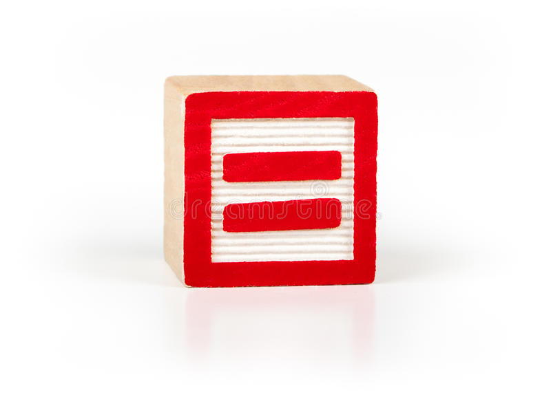 Equal sign alphabet toy block stock image
