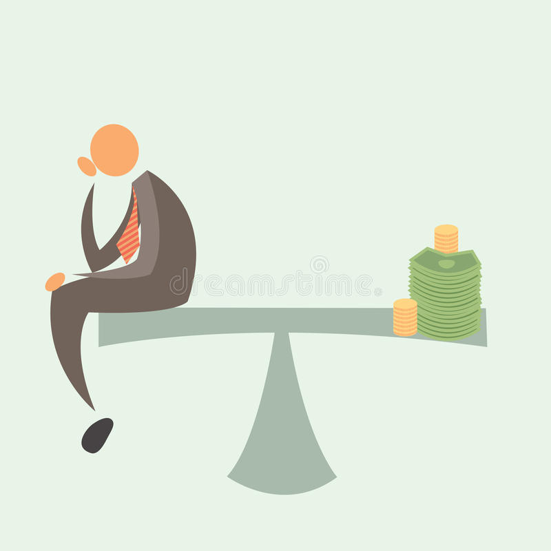 Equal Weighted: Businessman and Money. Lack of changes in a salary royalty free illustration