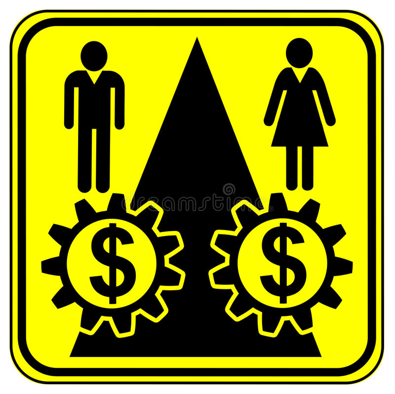 Equal Work Equal Payment. Concept sign for equal pay for equal work especially for women stock illustration