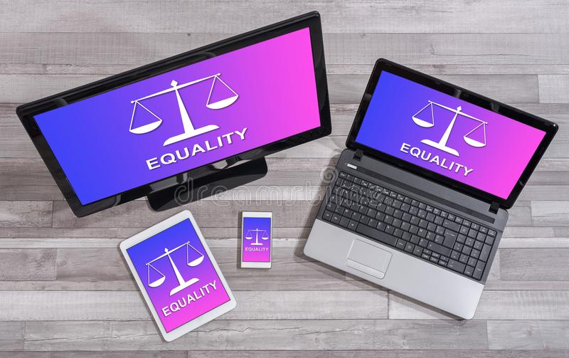 Equality concept on different devices. Equality concept shown on different information technology devices royalty free stock images