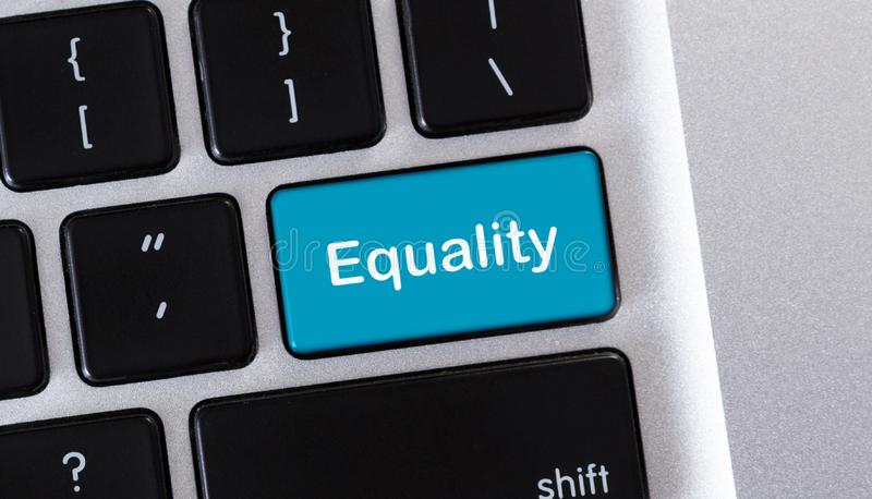 Laptop keyboard with equality text on button stock image