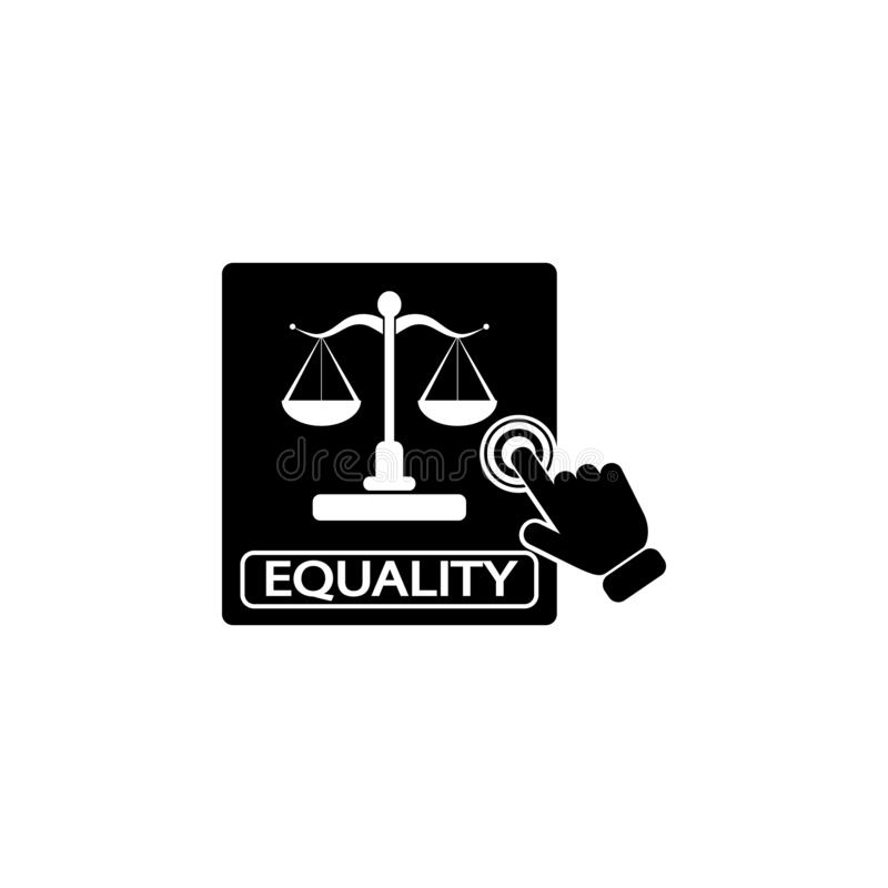 Equality concept on touch screen icon. Element of touch screen technology icon. Premium quality graphic design icon. Signs and sym. Bols collection icon for royalty free illustration
