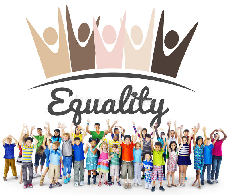 Equality Fairness Fundamental Rights Racist Discrimination Concept. Children Support Equality Fairness Fundamental Rights stock images