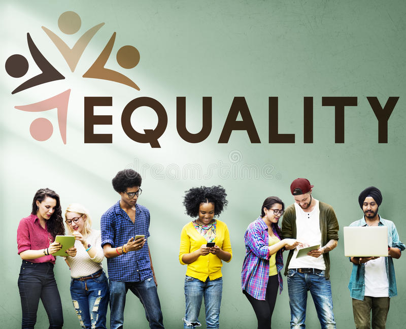 Equality Fairness Fundamental Rights Racist Discrimination Concept. People Support Equality Fairness Fundamental Rights Racist Discrimination royalty free stock photography