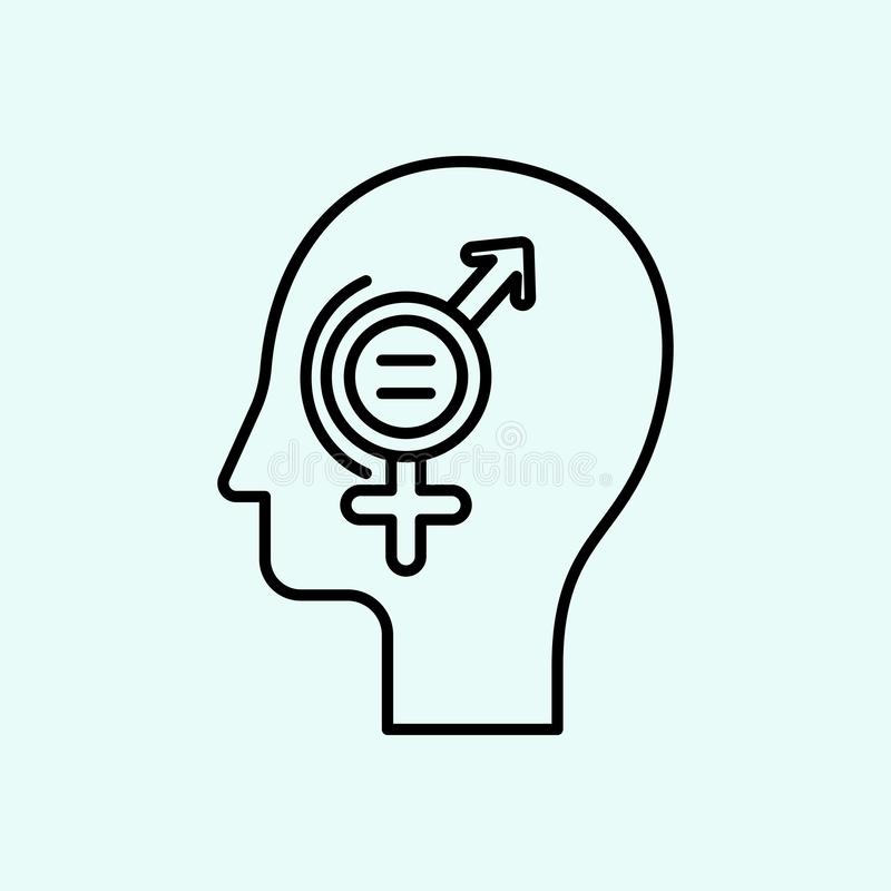 equality,gender, head, signs icon. Element of Feminism for mobile concept and web apps icon. Outline, thin line icon for website stock illustration
