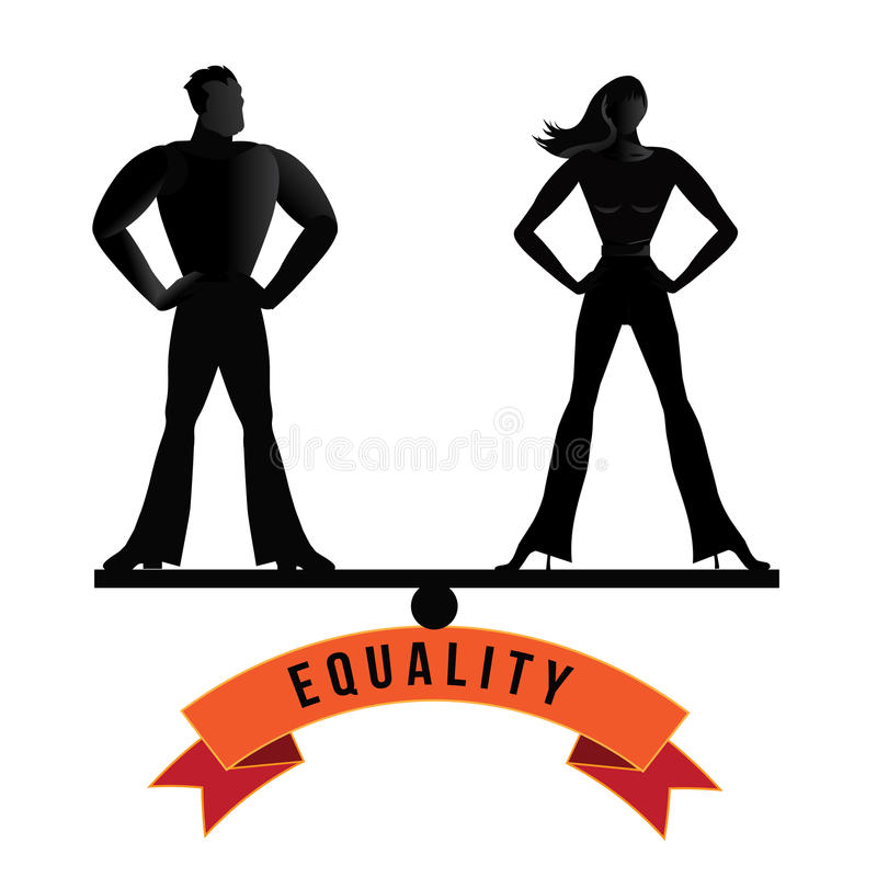 Equality man and woman balance EPS 10 vector royalty free illustration