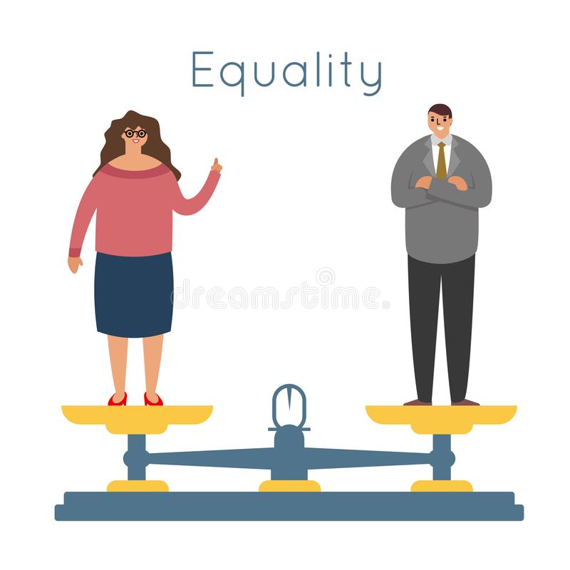 Equality men women equal rights male female characters balance scales weigher concept modern flat design vector vector illustration