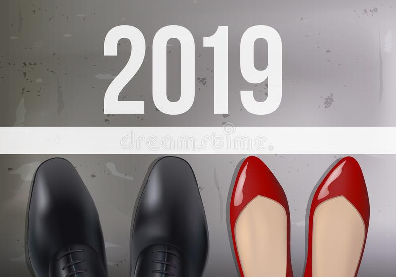 Equality of opportunity symbolized by the shoes of a man and a woman in front of the 2019 starting line. Greeting Card 2019 against gender discrimination vector illustration