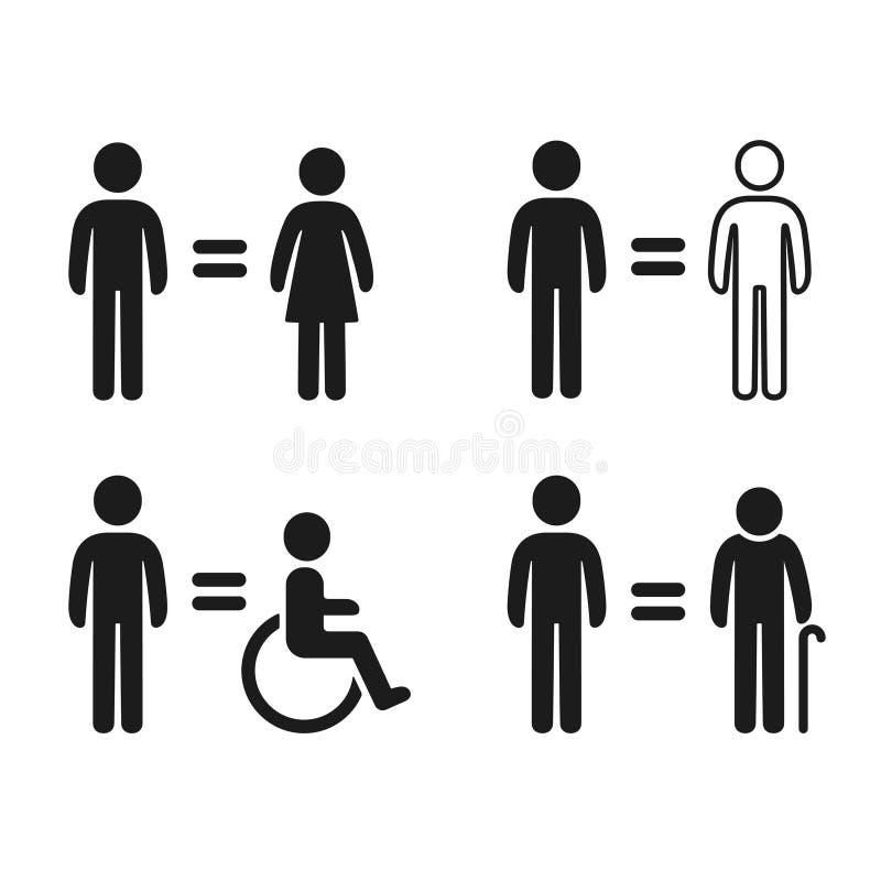 Equality symbols set royalty free illustration