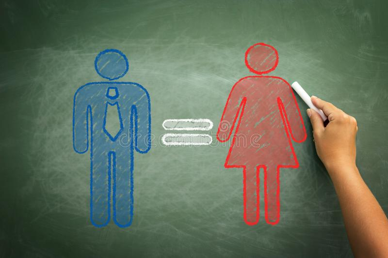 Equality woman man concept. Man equal to woman gender equality concept on green chalkboard with hand holding chalk royalty free stock photo