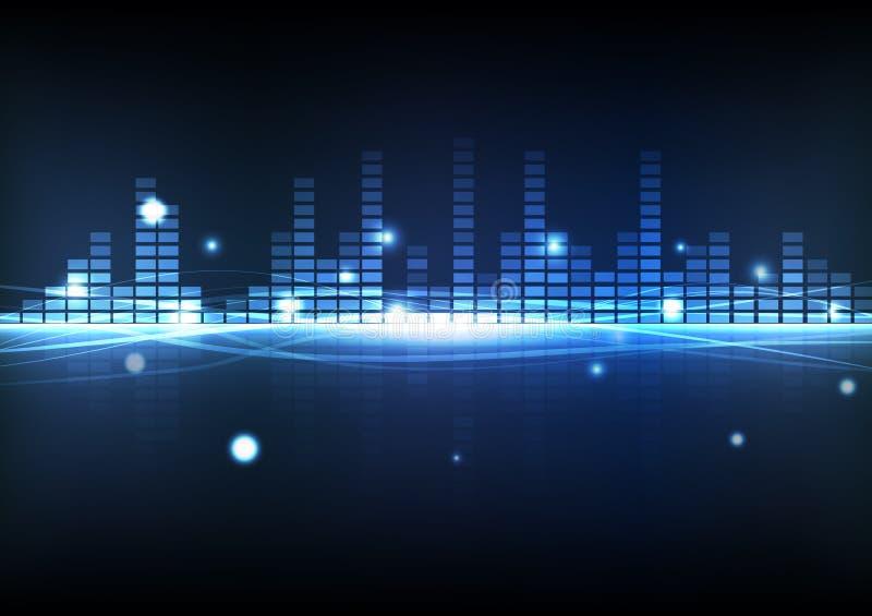 Equalizador azul da música da tecnologia digital do fundo do sumário com ilustração do vetor