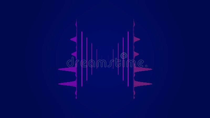 Equalizador colorido del extracto en el espectro audio de la forma de onda, señal audio rosada en el fondo azul marino, conept de ilustración del vector