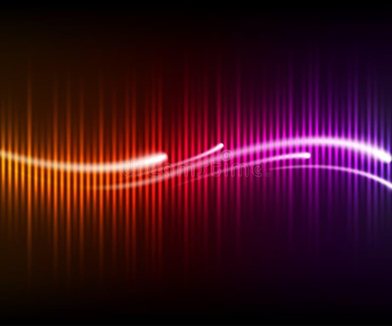 Equalizador de brilho digital colorido com ondas ilustração royalty free