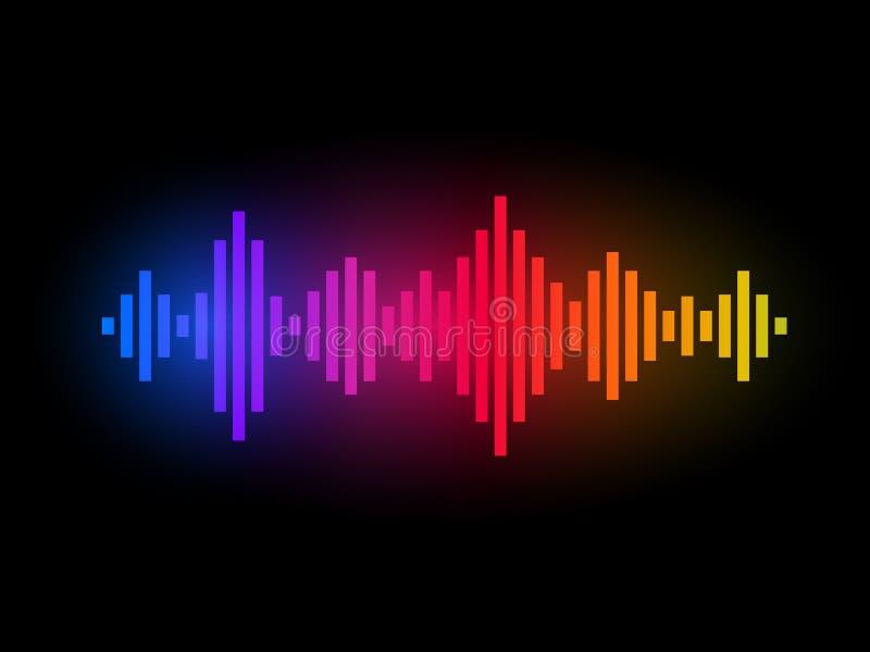 Equalizador de la música de Digitaces Diseño de las ondas del color Concepto sano del arco iris Visualización audio colorida Ilus libre illustration