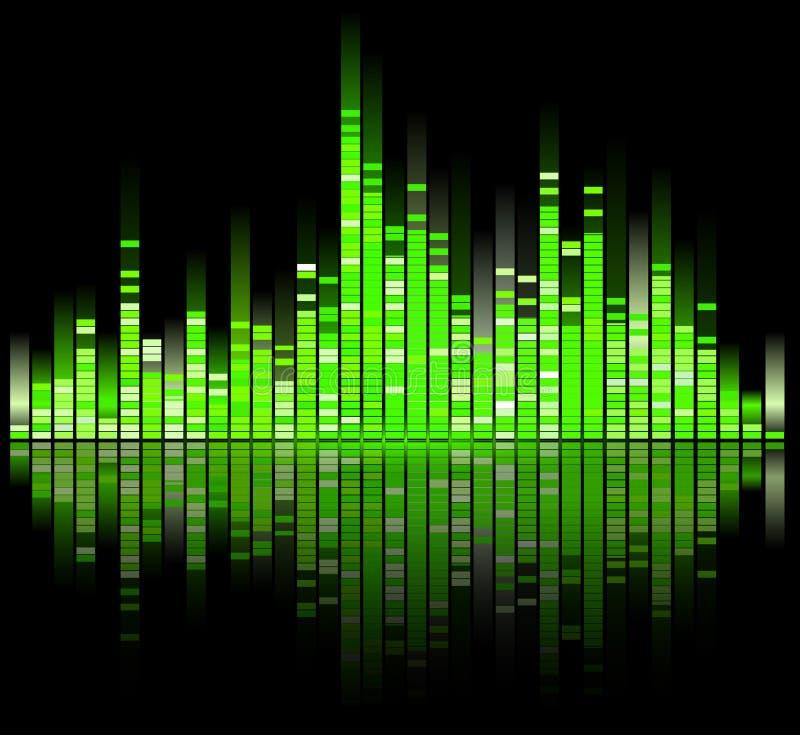 Equalizador digital verde de los sonidos ilustración del vector