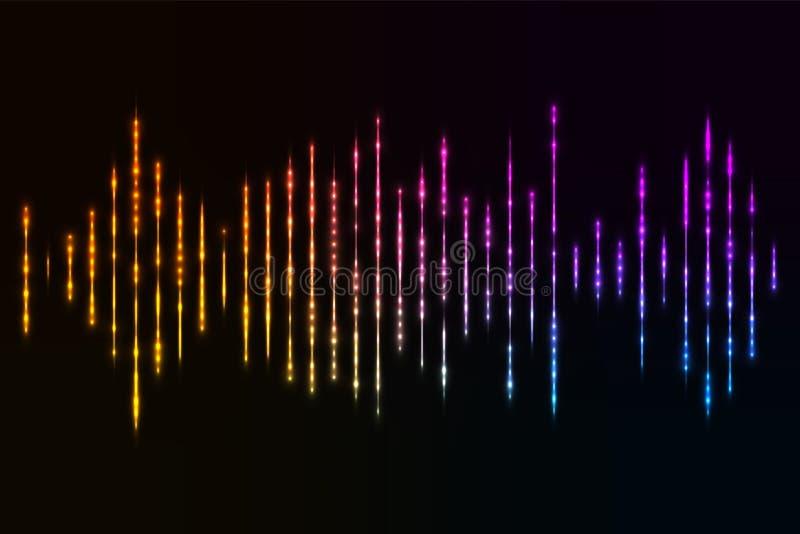 Equalizador musical Onda sadia Frequência de rádio Ilustração do vetor ilustração do vetor