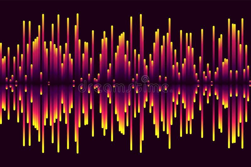 Equalizador musical Onda sadia Frequência de rádio Ilustração do vetor ilustração stock