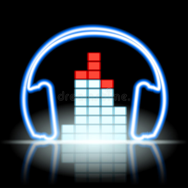 Equalizador musical y auriculares del icono de neón stock de ilustración