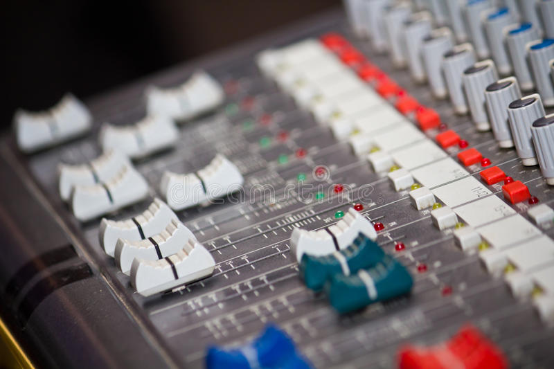 Equalizer. Control of equalizer stand with buttons and levers royalty free stock photo