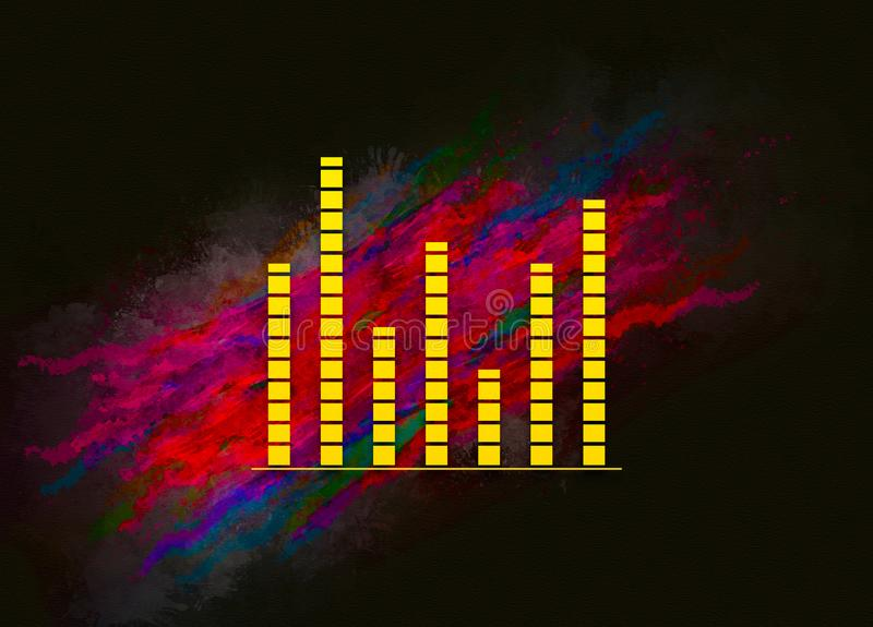 Equalizer icon colorful paint abstract background brush strokes illustration design. Creative bright red color texture fluid liquid waves royalty free illustration