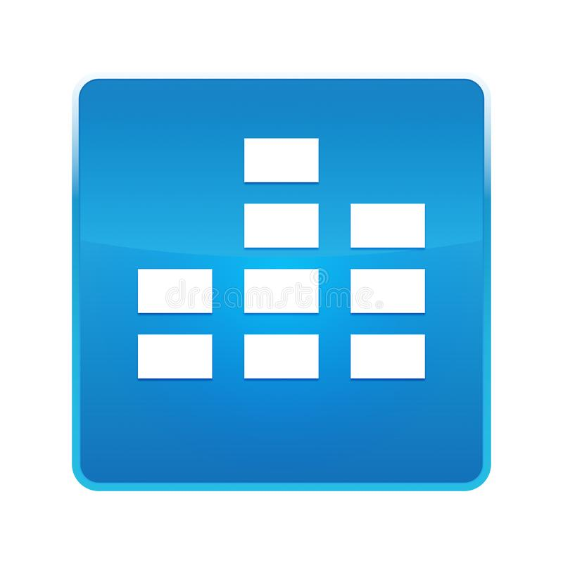 Equalizer icon shiny blue square button vector illustration