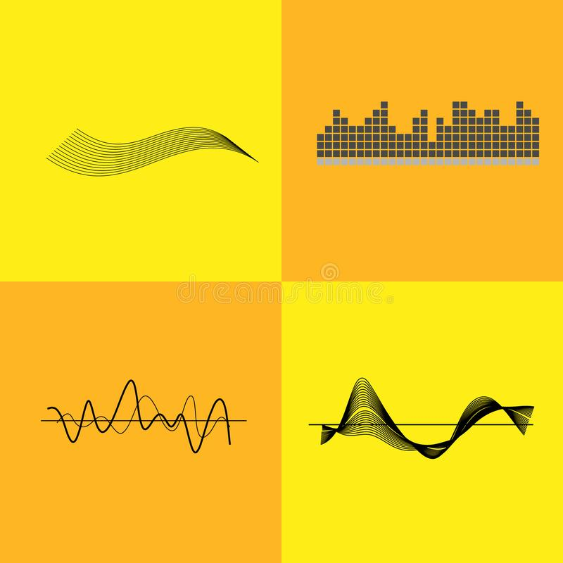 Equalizer Interface Variants Vector Illustration. Equalizer interface pictured with grids with graph, lines and waves. Vector illustration with icons of music royalty free illustration