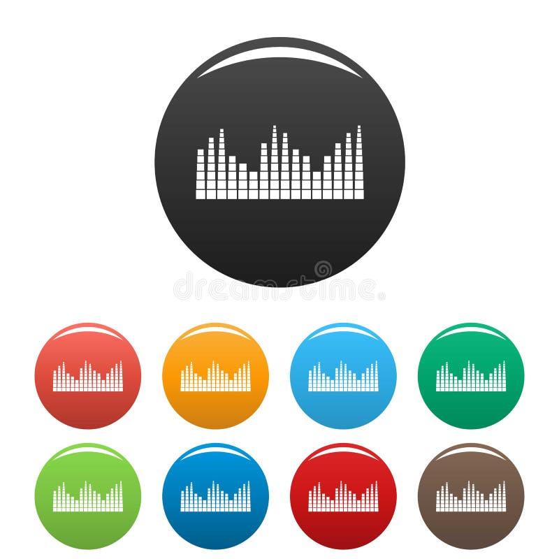 Equalizer level radio icons set color. Equalizer level radio icon. Simple illustration of equalizer level radio icons set color isolated on white royalty free illustration