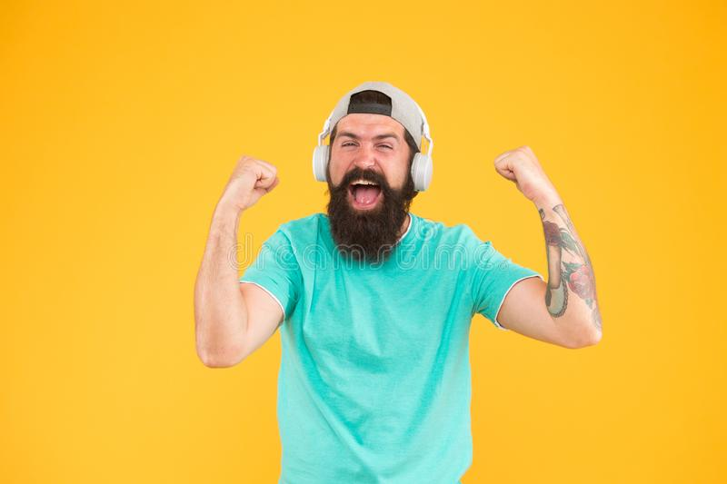 Equalizer player settings. Bass low sound. Hipster headphones gadget. Inspiring song. Music library. Feel rhythm royalty free stock photography