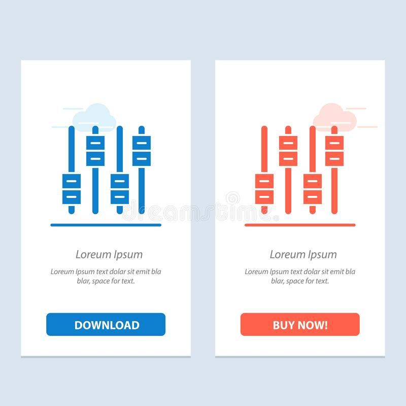 Equalizer, Sound, Audio, Volume  Blue and Red Download and Buy Now web Widget Card Template royalty free illustration