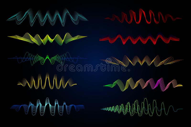 Equalizer vector illustration. Abstract wave icon set for music and sound. Pulsation color wavy motion lines on black background. vector illustration