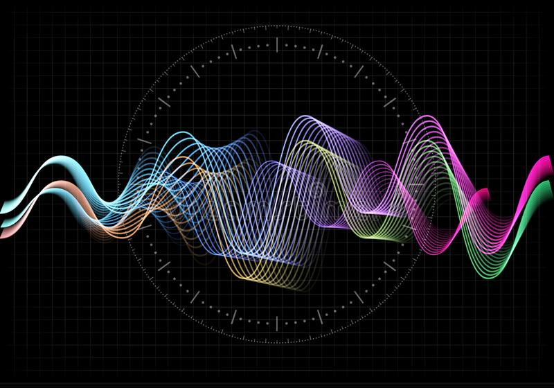 Equalizer vector illustration. Abstract wave icon set for music and sound. Pulsation color wavy motion lines on black vector illustration