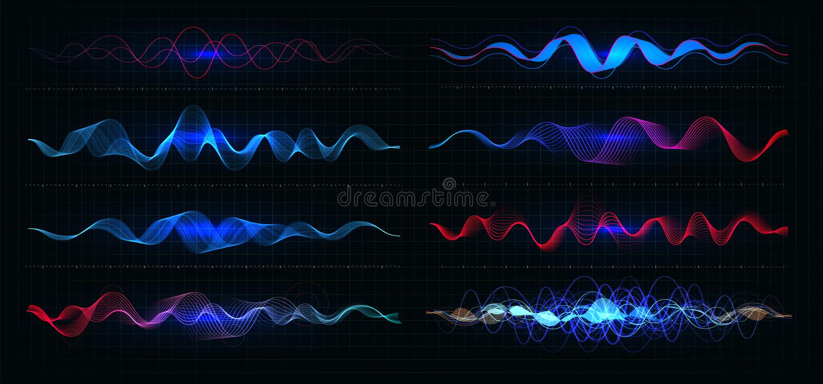 Equalizer vector illustration. Pulsation color wavy motion lines on black background. Radio frequency graph. Graphic stock illustration