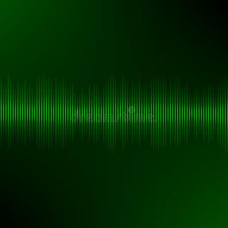 Equalizzatore dell'onda sonora con fondo scuro verde illustrazione di stock
