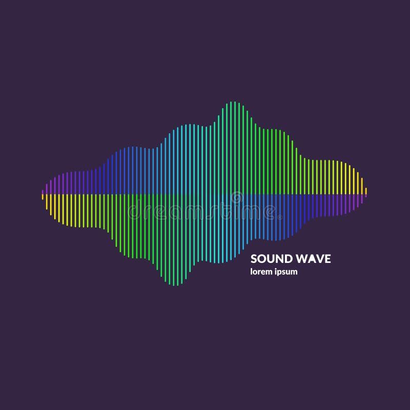 Equalizzatore dell'onda sonora Illustrazione di vettore su fondo scuro illustrazione di stock