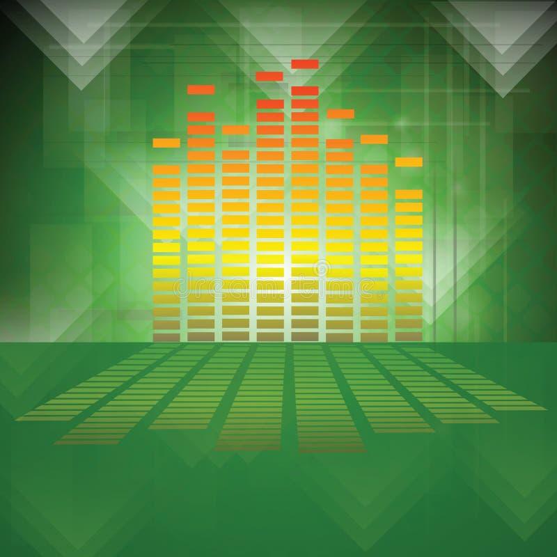 Equalizzatore su fondo verde illustrazione vettoriale