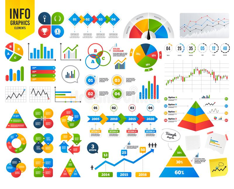 2_equals_1_icon. Business infographic template. First place award cup icons. Laurel wreath sign. Torch fire flame symbol. Prize for winner. Financial chart. Time royalty free illustration