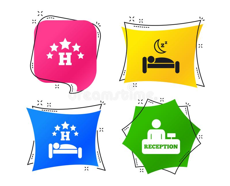 2_equals_1_icon. Five stars hotel icons. Travel rest place symbols. Human sleep in bed sign. Hotel check-in registration or reception. Geometric colorful tags vector illustration