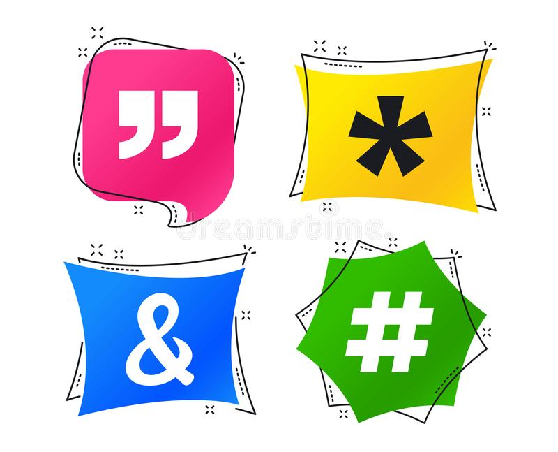 2_equals_1_icon. Quote, asterisk footnote icons. Hashtag social media and ampersand symbols. Programming logical operator AND sign. Geometric colorful tags vector illustration